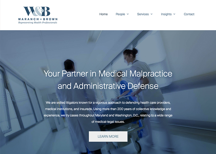 Waranch & Brown Law Firm for Health Professionals Website image